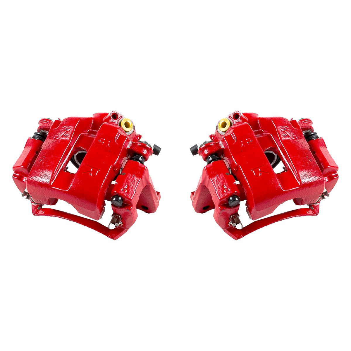 FRONT Performance Grade Red Powder Coated Semi-Loaded Caliper Assembly Pair Set 2 CK01471