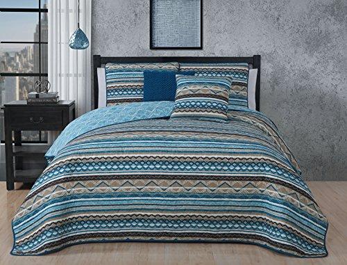 Avondale Manor Meridian 5-piece Quilt Set - Blue, Queen