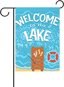 U LIFE Welcome to The Lake Hello Summer Decorative Garden Yard Flag Banner for Outside House Flower Pot Double Side Print Polyester 40 x 28 & 12 x 18 Inch