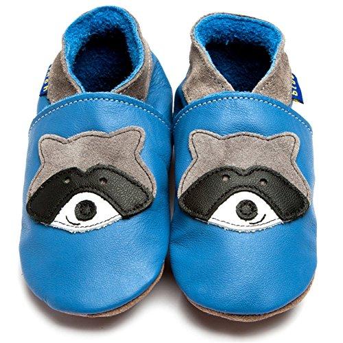 Inch Blue Mädchen/Jungen Schuhe für den Kinderwagen aus luxuriösem Leder - Weiche Sohle - Waschbär Blau