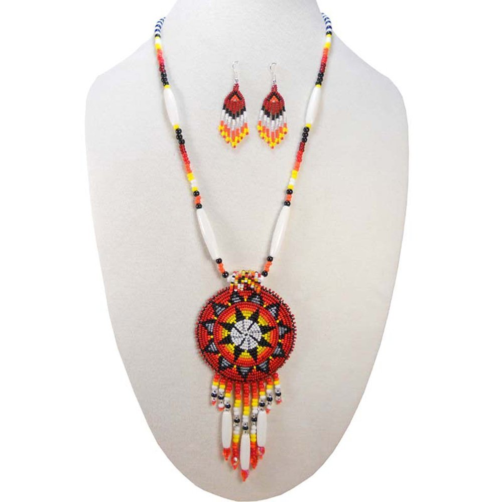 Viva RED LONG MEDALLION STAR FIRE COLOR SEED BEADED NECKLACE EARRINGS SET S-51/10