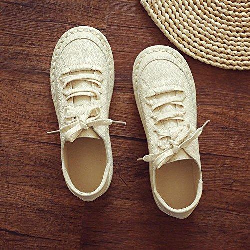 NSX retro 37 35 con de fondo la de los dedo BEIGE del de pie cuero planos plano de mujer zapatos cordones redondo casual Jane beige Mary rpY4r