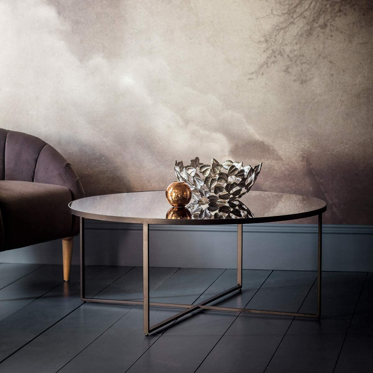 Gallery Direct Torrance Coffee Table 1000x1000x420mm Metal Glass Amazon Co Uk Kitchen Home [ 1200 x 1200 Pixel ]
