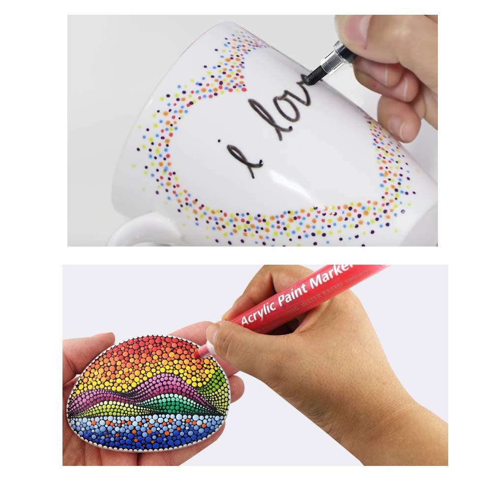 Bolígrafos marcadores de pintura, 12 colores, rotuladores permanentes de pintura 2 en 1 punta para pintura en roca, huevo de Pascua, cerámica, papel, ...