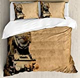 Ambesonne Steam Engine Duvet Cover Set, Antique Old Iron Train Aged Sepia Grunge Style Design Industrial Theme Artsy Print, 3 Piece Bedding Set with Pillow Shams, Queen/Full, Brown