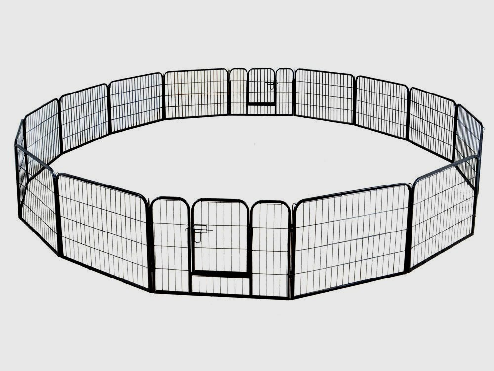 Dog Metal Barrier Large 16 Panels Pet Cat Exercise Barrier Fence Playpen Kennel Yard - Skroutz