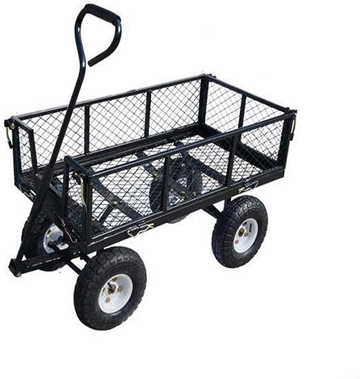 Gyj&gyt Carro de jardín, vagón de jardín utilitario, Carro de Acero para Servicios públicos, Lado Desmontable, Capacidad de Carga 80 kg de Capacidad, Negro: Amazon.es: Hogar