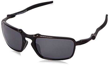 9abee9708d Image Unavailable. Image not available for. Colour  Oakley Men s Badman  OO6020 Polarized Iridium Rectangular Sunglasses Dark Carbon
