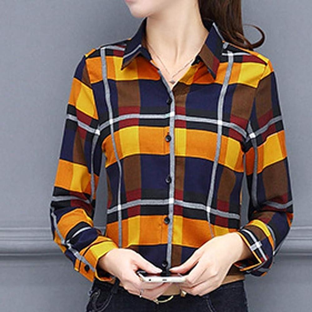 Auifor Las Mujeres de la Moda Camisa del Negocio la Tela Escocesa de impresión de Manga Larga de la Blusa de la Solapa(Amarillo/Small): Amazon.es: Ropa y accesorios