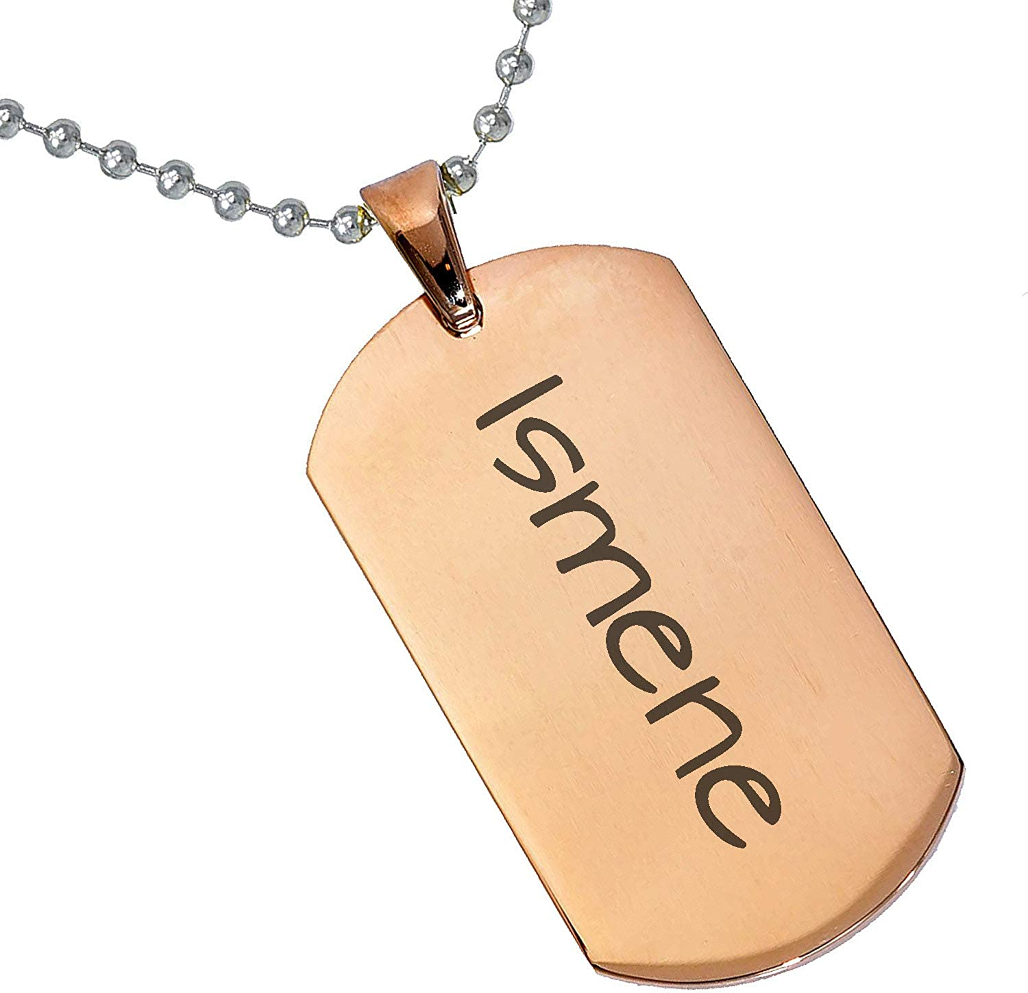 Stainless Steel Silver Gold Black Rose Gold Color Baby Name Ismene Engraved Personalized Gifts For Son Daughter Boyfriend Girlfriend Initial Customizable Pendant Necklace Dog Tags 24 Ball Chain