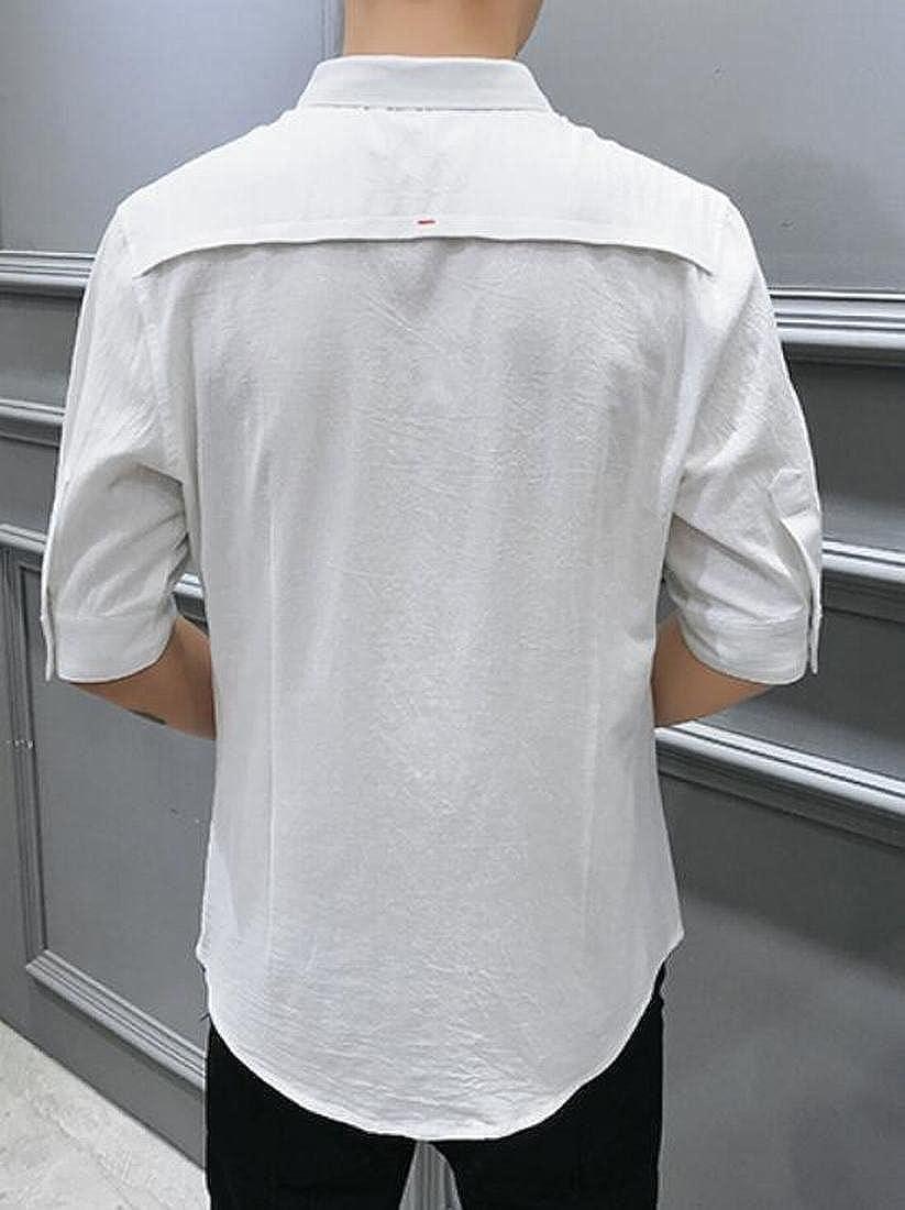 Nanquan Men NQ Mens Half Sleeve Lapel Cotton Casual Pure Color Button Down Shirt Top