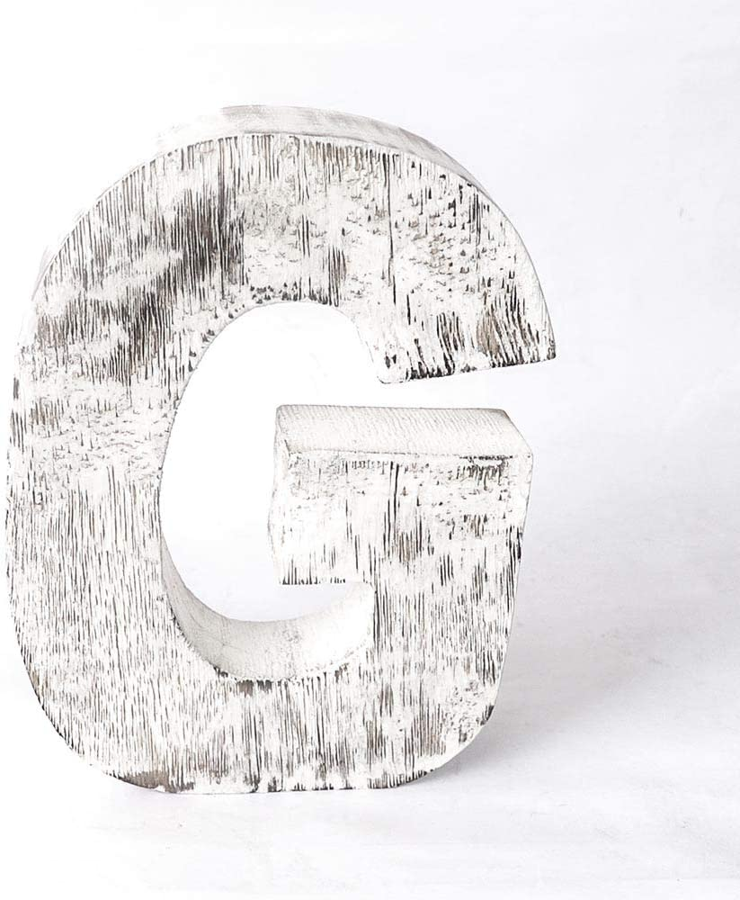 Kaizen Casa Vintage, Rustic Mango Wood Alphabet Letter G, Wall Decor, Wall Sculptures, Home, Office, Party Décor.