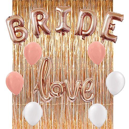 bachelorette party decorations bridal shower kit set includesrose gold bride foil balloon 6 latex balloons 3 rose gold 3 whiterose gold fringe