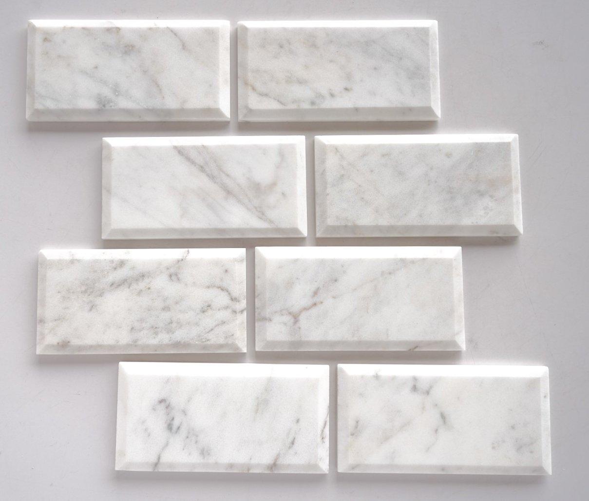 Bianco Venatino Marble 3X6 Deep - Beveled & Honed Subway Tile - STANDARD QUALITY - Lot of 20 Sq. Ft.