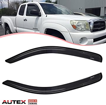 AUTEX 2Pcs Tape on Window Deflector Compatible with 2005 2006 2007 2008 2009 2010 2011 2012 2013 2014 2015 Toyota Tacoma Extened Cab Side Window Visor Shade Deflectors