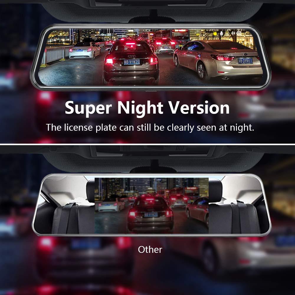 Jansite 10 Dashcam Voiture R/étroviseur /Écran Tactile Arri/ère et Avant Full HD 1080P Streaming Media DVR 170 /° Grand Angle de Vision Nocturne avec 10 M/ètres de C/âble