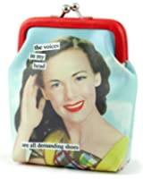 Anne Taintor Vinyl Kiss Lock Change Coin Purse - The Voices In My Head Are All Demanding Drinks