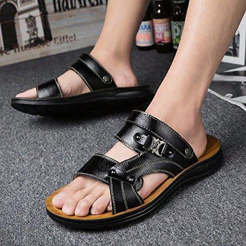 estate Il nuovo vera pelle Uomini sandali Tempo libero scarpa Uomini Antiscivolo sandali Spiaggia scarpa tendenza ,nero,US=7,UK=6.5,EU=40,CN=40