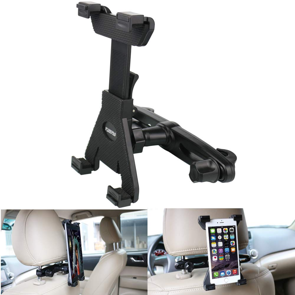 Car Headrest Mount, Universal Tablet Holder for Car Backseat Seat,360° Adjustable Rotating for iPad, Samsung Galaxy, Nintendo Switch, Fits All 6'' - 10.5'' Tablets (Black)