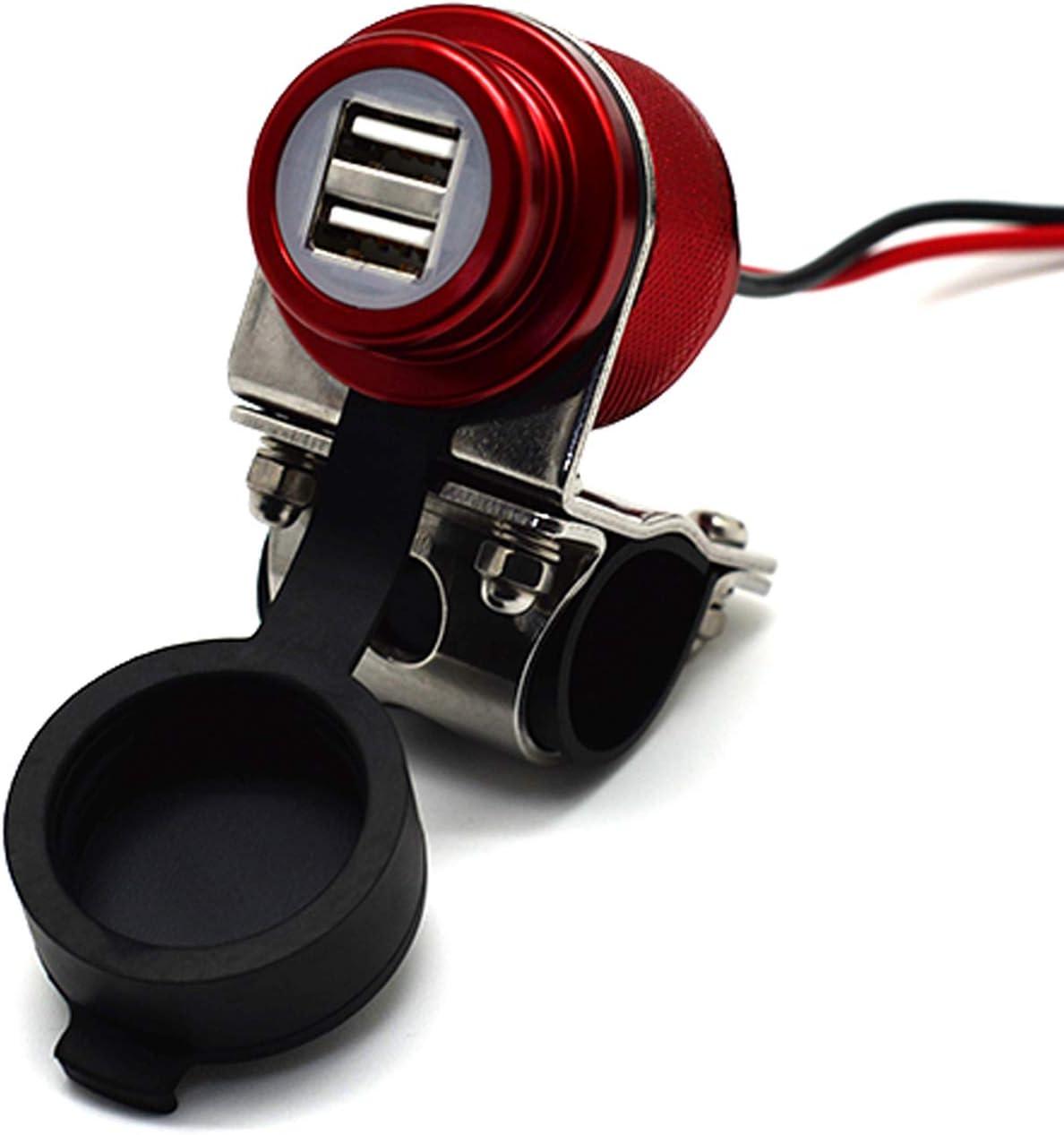 Cliff-Top® Aluminio 4.6 amperios de corriente USB Cargador universal - Kit de fuente de alimentación USB para GPS, navegación por satélite, y Smartphone, etc. (marrón)