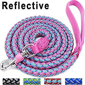 Mycicy Rope Dog Leash - 6 Foot Reflective Dog Leash - Mountain Climbing Nylon Braided Heavy Duty Dog Training Leash for Large and Medium Dogs Walking Leads 1
