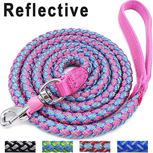 Mountain Mycicy Rope Dog Leash - 6ft Climbing Pink Dog Leash - Reflective Nylon Braided Heavy Duty Dog Training Leash for Large and Medium Dogs Walking Lead(pink)