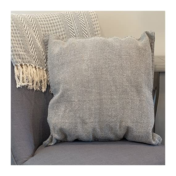 Solid Dhurrie Light Grey 20 x 20 Indoor Outdoor Throw Pillow - Proudly filled and finished in the USA; Made of 100% high quality Polyester fiber materials Throw pillow measures approximately 20 x 20 inches finished seam to finished seam; Features blanket stitching finish Rich colors and pattern design is weather and fade resistant up to 500 hours of direct sunlight; For longer life cover or store when not in use - patio, outdoor-throw-pillows, outdoor-decor - 61O3uu2U3AL. SS570  -