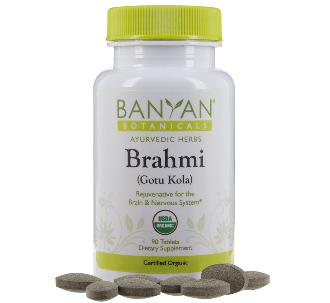 Banyan Botanicals Brahmi / Gotu Kola tablets - USDA Organic - 90 tablets - Centella asiatica - Brain & Nervous System Rejuvenative*