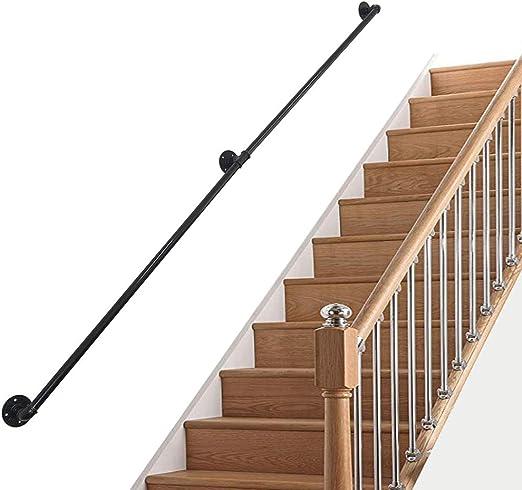Decoración Barandilla de hierro forjado de riel de escalera negro mate, barandillas de 1 ~ 10 pies for escaleras, barandilla de seguridad de tubería Barandilla de montaje en pared for ancianos, niño: