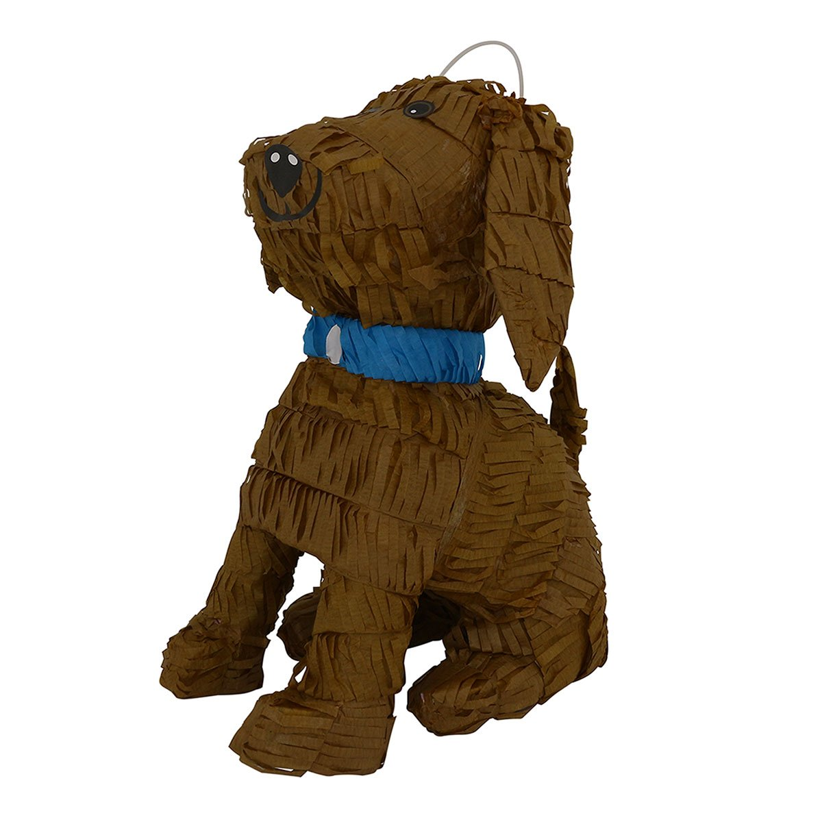 LYTIO – Brown Puppy Dog Shaped Pinata with Blue Details (Piñata) Ideal for Animal Parties, Center Piece, Photo Prop and Décor