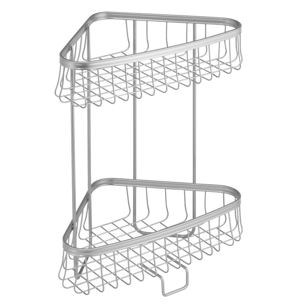 InterDesign York Lyra Freestanding Bathroom Storage Compact Shelves/Racks, Made of Stainless Metal, Matte Black 62887