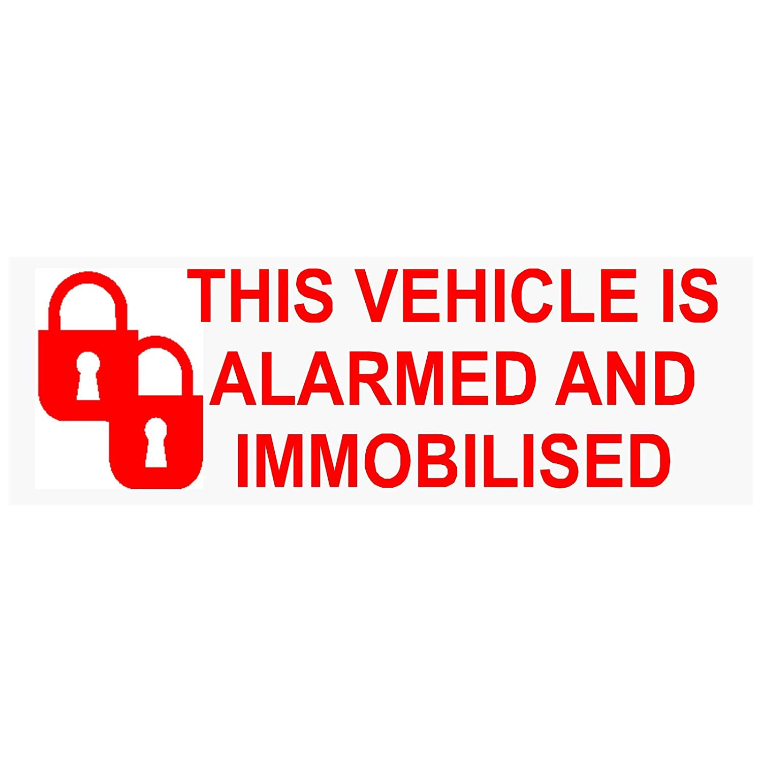Platinum Place 6  x Alarm, Wegfahrsperre stickers-padlock-red/clear-alarmed und immobilised 2-signs-car, Van, LKW, Wohnwagen, Wohnmobil, Truck, Taxi, Minicab, Auto, groß