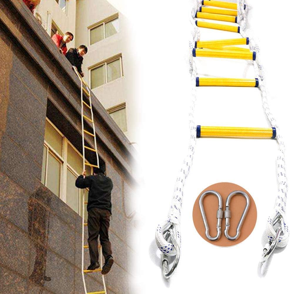 ZHANGZHIYUA Escalera De Cuerda Fire Escape - Escaleras De Seguridad Resistentes Al Fuego con Ganchos para Adultos - Rápida Implementación Y Fácil De Usar (32-65 Pies/ 10-20M),49ft/15m: Amazon.es: Hogar