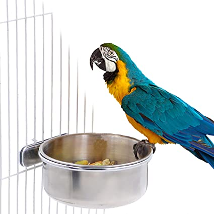 Bird Parrot Feeding Cups With Clamp Stainless Steel Food Water Bowls Dish Feeder