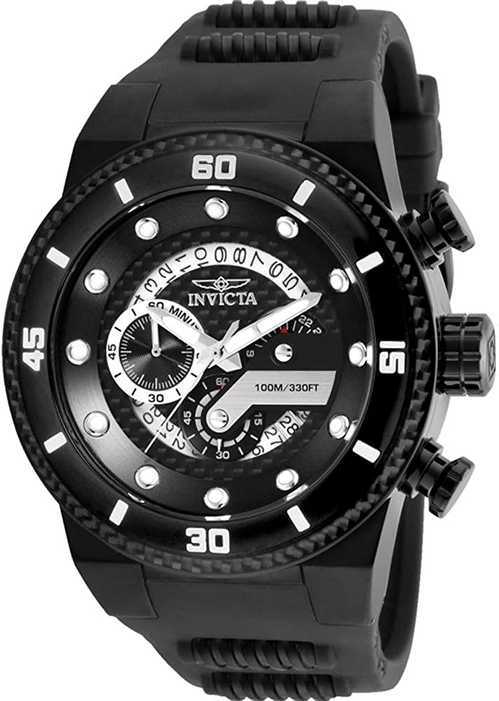 Invicta Men s S1 Rally Stainless Steel Quartz Watch with Silicone Strap, Black, 30 Model 24228