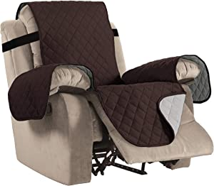 "Reversible Recliner Cover Recliner Slipcover Recliner Furniture Protector 2"" Elastic Strap Slip Resistant Water Repellent Slipcover Seat Width Up to 30"" (Oversized Recliner, Brown/Beige)"