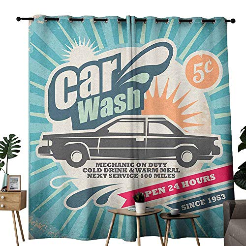 (duommhome Retro Curtain for Kids Retro Car Wash Auto Service Repair Poster Style Art in Vintage Color Classic Design Darkening and Thermal Insulating W120 x L84 Multicolor)