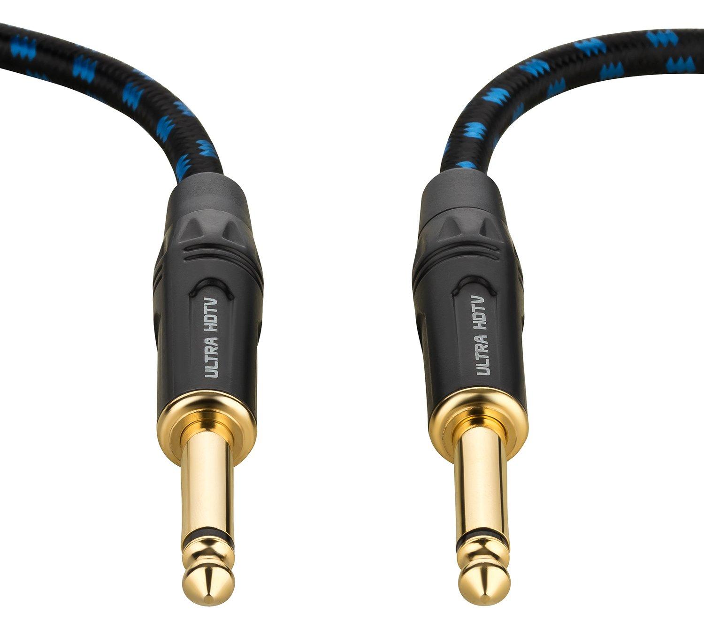 Amplificador Teclado Guitarra Conectores Dorados 12,5 m Bajo Jack de 6.3 mm con Cable Trenzado de Nylon Cable para Guitarra y Instrumentos Macho a Macho de Ultra HDTV Adaptadores de Metal