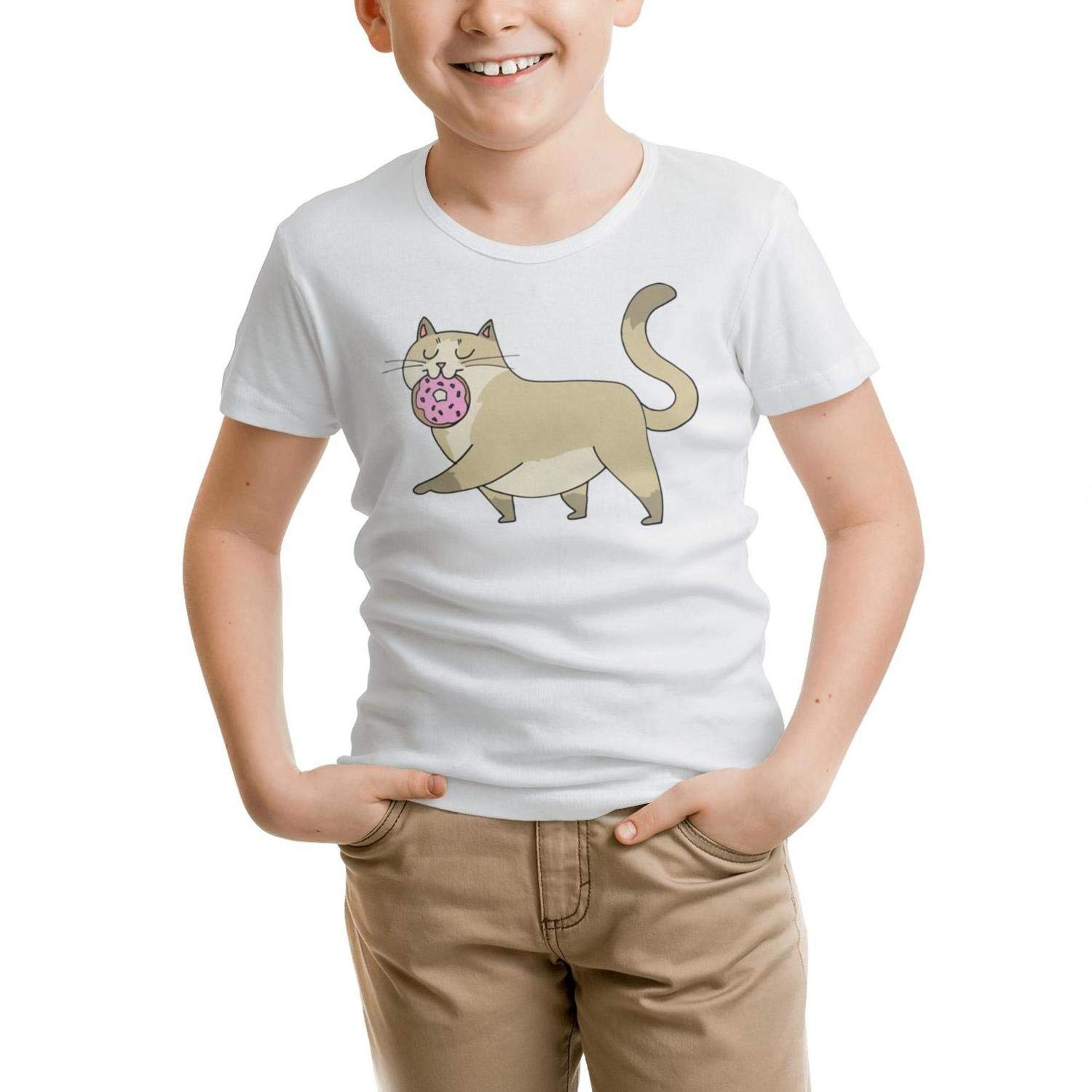Kids T-Shirt Cool Pure Pink Donut cat Dance t Shirt Cotton 100/% Knit Breathable Gift for Girls Tee