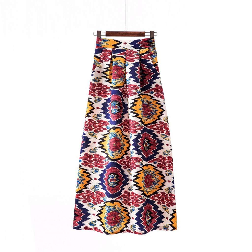 iHAZA Maxi Skirt Ladies Spring and Summer Print Fashion Casual Skirt Retro Big Skirt