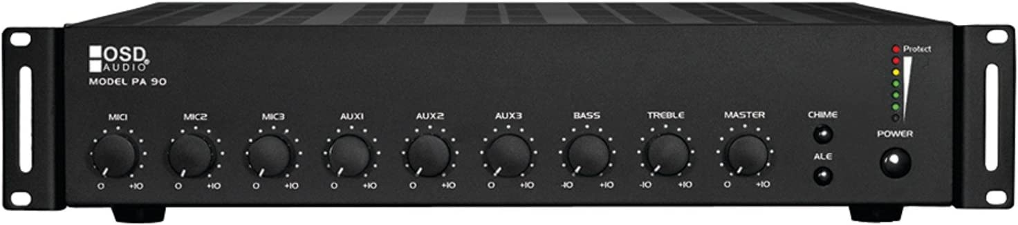 OSD Audio 60W Commercial Amplifier – Mono Integrated Amp/Mixer, 7 Inputs – PA90