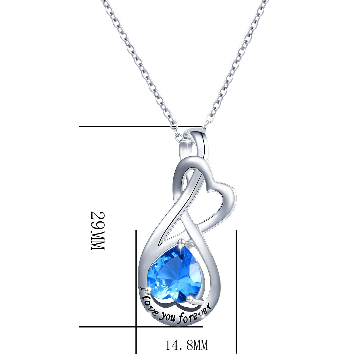 YinShan I Love You Forever Heart Necklace Jewelry Sterling Silver Pendant by YinShan (Image #6)