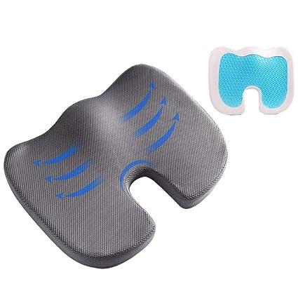 joyliveCY Comfort Gel Asiento Cojín Cojín ergonómico Cojín para Espalda Baja Sciatica Asiento Asiento portátil para