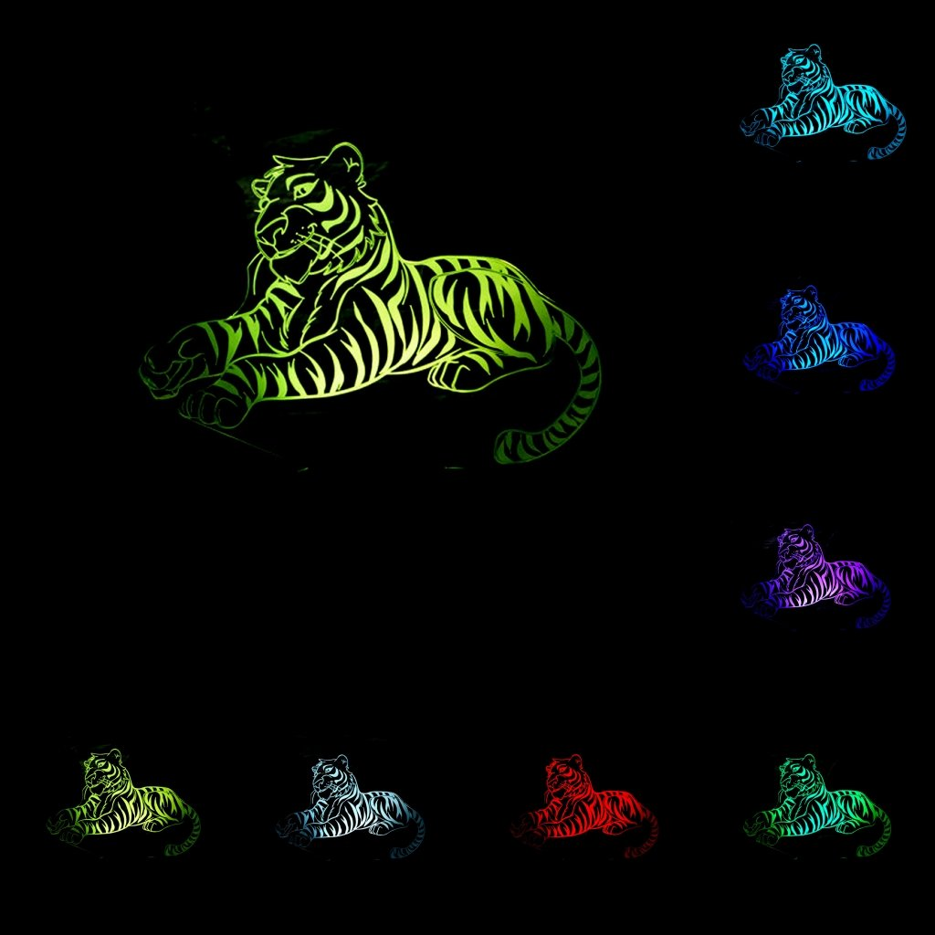 Animal Pet Collection 3D Illusion Night Light, Touch Table Lamp for Children Gift, 7 Colors Changing with Acrylic Flat & ABS Base & USB Charger tiger