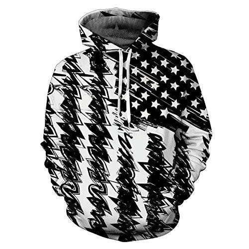 New Fashion Unisex Hooded Sweatshirt Hooded Hoodies 3d Print Black White USA Flag Pullovers,Usa Flag,Small / Medium - American Flag Hooded Sweatshirt