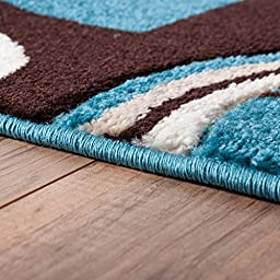 Echo Shapes & Circles Blue & Brown Modern Geometric Comfy Casual Hand Carved Area Rug 5x7 ( 5\'3\
