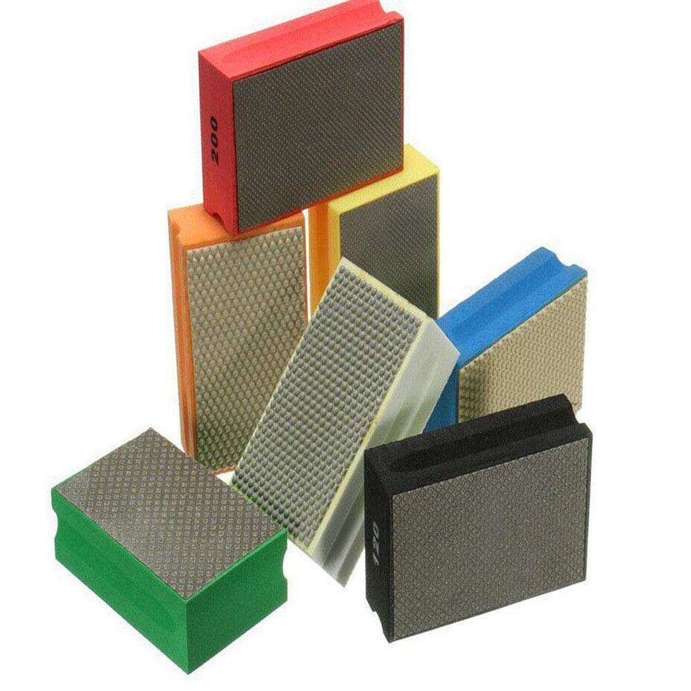 Sanding Blocks Polishing Grinding Block Diamond Polishing Hand Pads Block For Granite Marble Glass Grinding 60-3000Grit (120 Grit) by Edinstry