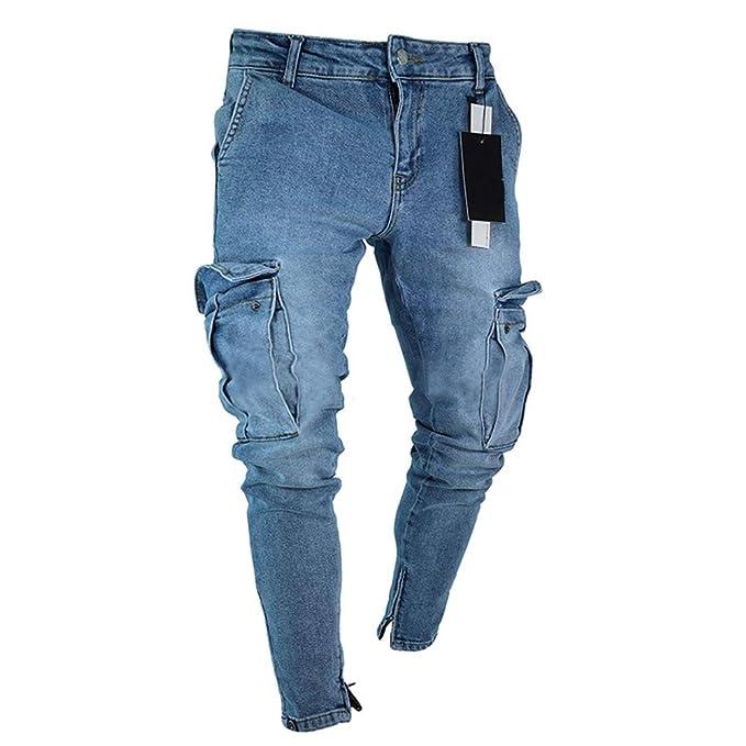 a9ff00a768 Hellomiko Jeans Uomo, Jeans Denim Uomo Tasche Cargo con Zip