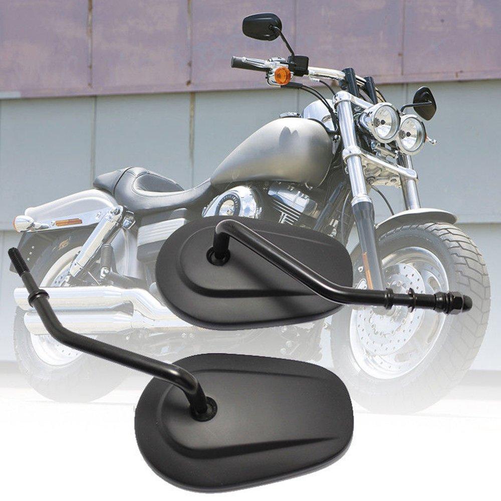 Specchietti Retrovisori Moto 8MM con Angolo Specchio Regolabile per Harley-Davidson Sportster 883 1200 Chopper Fatboy Softail - Nero Lady Outlet Mall