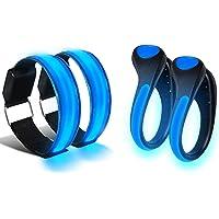 Alviller 2 Stück LED Armband und 2 Stück LED Schuh Clip, Hell Leuchtendes Reflective Nacht Sicherheits Licht für Laufen Joggen Running Outdoor Sports